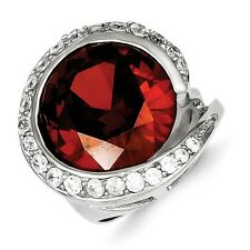 Sterling Silver Round Cut Red & Clear CZ Cocktail Ring 9.45 gr Size 6 to 8