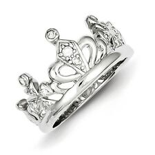 Sterling Silver Clear CZ Crown Ring Size 6 to 8