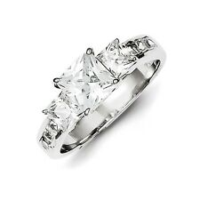 Sterling Silver 3 Stone Princess Cut Clear CZ Engagement Ring Size 6 to 8