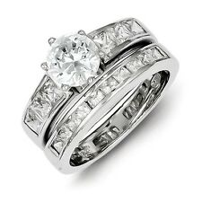 Sterling Silver 2-Piece Round Cut Clear CZ Wedding Set Ring 6.92 gr Size 6 to 8