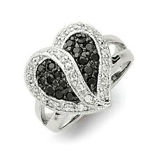 Sterling Silver Antiqued Black & Clear CZ Heart Ring Size 6 to 8