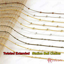 5 meters Copper Extended Chain with beads Station Ball Necklace Chains 22098