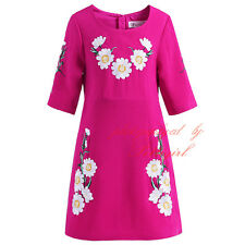 Toddler Girls Flower Embroidery Dress Kids Princess Summer Party Daisy Clothes