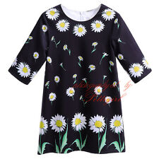 Kids Girls Flower Dress Princess Birthday Party Pageant Daisy Summer Holiday