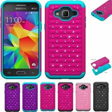 Duty Rugged Rubber Bling Crystal Diamond Skin Case Cover for Samsung Galaxy J3