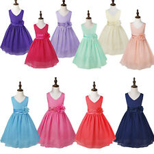 Chiffon V-Neck Pageant Party Birthday Wedding Bridesmaid Flower Girl Dress 2-14