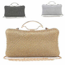 Ladies Designer Diamante Glittery Clasp Clutch Bag Bridal Evening Handbag M1013