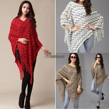 New Hot Women Batwing Cape Poncho Knit Top Pullover Sweater Coat Jacket WT88