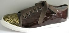 LANVIN DARK BROWN PATENT GOLD CRACKED CAP TOE LACE UP SNEAKERS 41 I LOVE SHOES