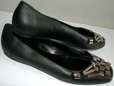 GUCCI SIGRID BLACK Techno Metal Hardware Logo Ballerina Flats Shoes EU 39 39.5