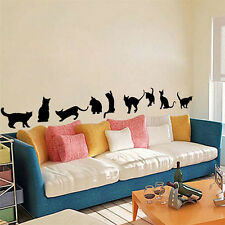 Black Cat Play Room Decor Removable Decal Vinyl Mural Art PVC Wall Sticker