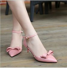 Women's Patent Leather Pointed Toe Kitten Pumps Bowknot Hot Heels Shoes Sandals