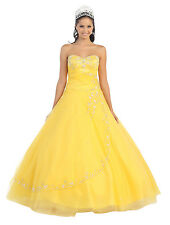 Long Quinceanera Strapless Sweetheart Sweet 16 Beaded Sequins Prom Formal Dress