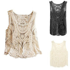 Women Girl Lace Floral Sleeveless Crochet Knit Vest Tank Top Shirt Blouse 3Color