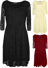 New Plus Size Womens Floral Lace Lined 3/4 Sleeve Ladies Skater Dress 14 - 28