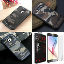 Camouflage Case Samsung S Note Military Army Rugged Camo Rubber + TEMPERED GLASS