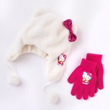 NWT Hello Kitty Girls 4-16 White Faux Fur Winter Trapper Hat Pink Gloves Set