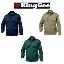Mens KingGee Closed Front Full Button 100% Cotton Drill Work Shirt Pocket K04020