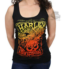 Harley-Davidson Womens Willie G Skull with Flaming Eagle Black Sleeveless Tank