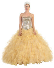 TheDressOutlet Quinceanera Long Formal Prom Dress Sweetheart Corset Organza