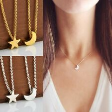 Simple Moon Star Pendant Silver/Gold Chain Crescent Charms Necklace Jewelry Gift