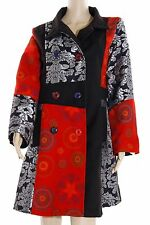COAT PATCHWORK RED MULTICOLOURED WINTER JACKET TRENCH SIZE M-3XL ROT-1070