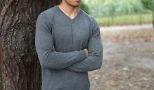 100% Cashmere V-neck Sweater, Dark Grey Luxury Premium Cashmere Sweater for men