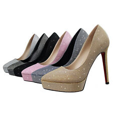 Bling-bling Simple Slim High Heels Pumps Platforms Pointy Toe Casual Women Shoes