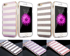 Bling Soft TPU Bunper Hard PC Back Case Strip Pattern Cover For iPhone 6s Plus