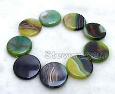 """SALE 40mm Round Coin Green Multicolor Striped Agate Loose Beads strand 15""""-lo664"""