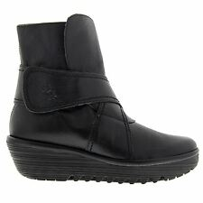 Fly London Rada 654 Fly Mousse Wedge Black Womens Boots