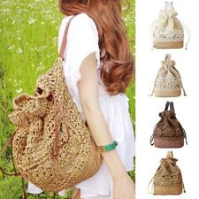 Fashion Womens Shoulder Hollow Crochet Bag Beach Handbag Straw Braid Backpack
