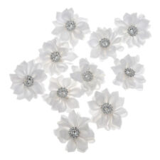 DIY 10pcs Satin Ribbon Flower with Rhinestone Appliques Wedding Craft Supplies