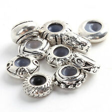 Wholesale Charms Vintage Silvery Rubber Spacer Alloy Beads Fit Bracelets