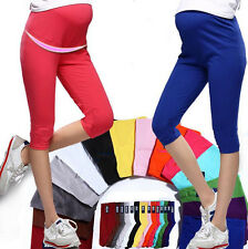 Pregnant Women Cotton Maternity Elastic Solid Leggings Capris Comfortable 7 Pant