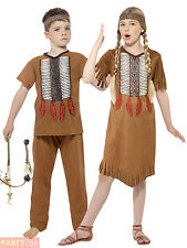 Childs Native Indian Costume Girls Boys Squaw Pocahontas Fancy Dress Outfit Kids