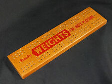 Vintage Wooden Cribbage Board - Advertising Players Weights Cigarettes