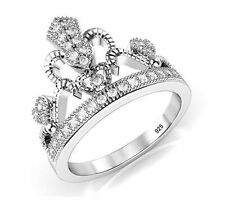 Elegant Sterling Silver 925 Cubic Zirconia Tiara Princess Heart Crown CZ Ring