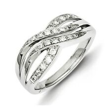 Sterling Silver .25 CT Diamond Overlapping Band Ring 3.49 gr Size 6 to 8