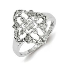 Sterling Silver .15 CT Diamond Scroll Pattern Ring 2.21 gr Size 6 to 8