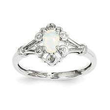 Created Opal Sterling Silver .02 CT Diamond October Birthstone Ring Size 5 to 10