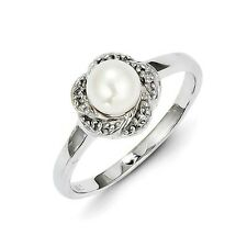 Sterling Silver FW Cultured Pearl & 0.02 CT Diamond Ring 1.53 gr Size 6 to 8