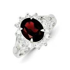 Sterling Silver Oval Cut Garnet & Clear CZ Ring 3.87 gr Size 6 to 8