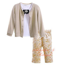 Kids Girls 3Pcs White T-shirt + Gold Flower Pants + Coat Set Fall Clothes Outfit