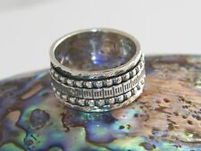 .925 Sterling Silver Handcrafted Triple Band Spinner Ring -Oxidized Design.