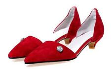 Fashion Ladies Pointy toe Suede Kitten Low-heels Loafers Pull on Casual shoes #