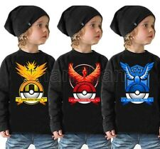 Pokemon Go Kids Cartoon Tops Baby Boys Girls Long Sleeve Summer Tee Shirt Blouse