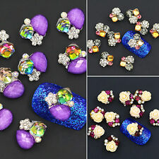 10Pcs 3D Rose Flower Crystal Rhinestone Nail Art Sticker Tips DIY Decor Latest