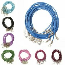 10/100pcs Real Leather Cord With Lobster Clasps Making Charm Necklace DIY 18''
