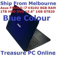 "Asus F555LD-XX565H Blue Laptop i7 4510U 8GB RAM 1TB HDD DVD 15.6"" GT820 1GB Win8"